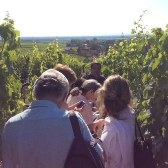 Nicholas Garde talks to the group in the vines of GC Rosacker