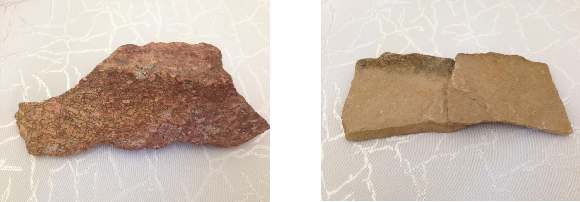 Red Sandstone (left) and Liimestone (right)